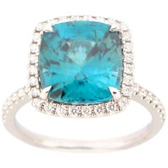 7.76 Carat Blue Zircon and Diamond Cocktail Ring