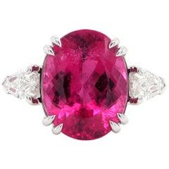 7.76 Carat Rubelite Diamond Three-Stone Ring