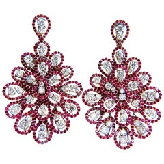 7.76ct Natural Ruby Diamond Dangle Chandelier cluster pendant earrings 14kt
