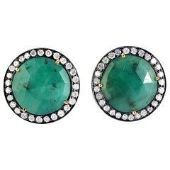 7.77 Carat Emerald Diamond Cufflinks