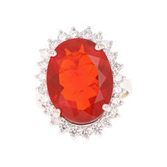 7.77 Carat Fire Opal Diamond 14 Karat White Gold Cocktail Ring