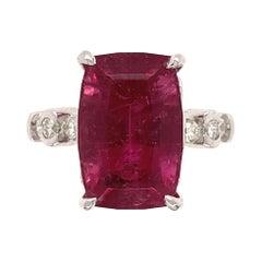 7.77 Carat Rubelite Tourmaline and Diamond Platinum Ring Estate Fine Jewelry