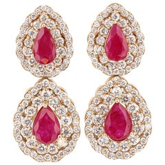 7.77 Carat Ruby Diamond 14 Karat Yellow Gold Earrings