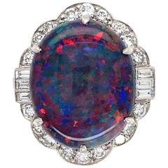 7.78 Carat Black Opal Diamond Platinum Cocktail Ring Estate Fine Jewelry