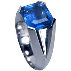 7.79 Carat Natural Unheated Sapphire White Gold Ring