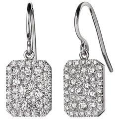 .78 Carat 18 Karat White Gold Pave Dangle Scapular Earrings