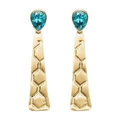 Susan Lister Locke 7.8ct Faceted Blue Zircon and 18K Gold Beehive Drop Earrings