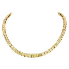 78 Carat Fancy Intense Yellow Radiant Cut Diamond Tennis Necklace