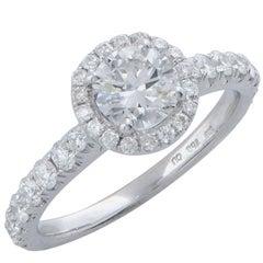 .78 Carat GIA Graded F/VVS2 Round Brilliant Cut Diamond Halo Engagement Ring