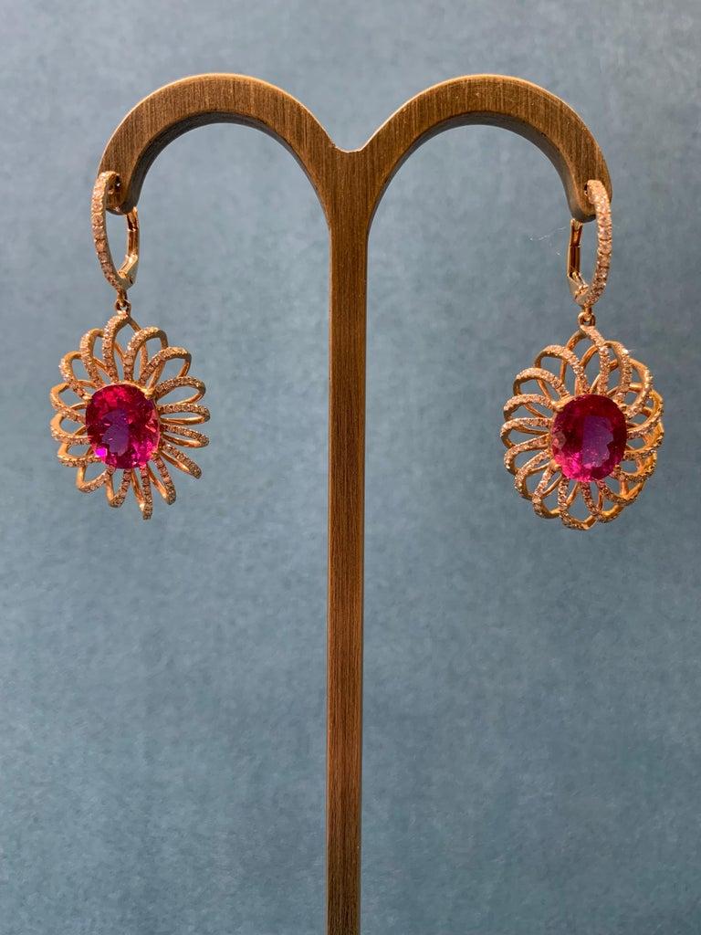 Contemporary 7.8 Carat Rubelite/ red / Designer 18k rose gold Dangling Earring For Sale