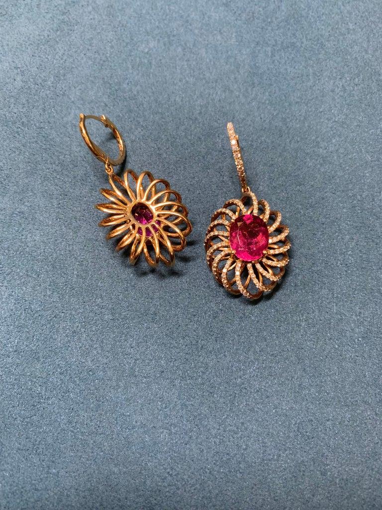Oval Cut 7.8 Carat Rubelite/ red / Designer 18k rose gold Dangling Earring For Sale