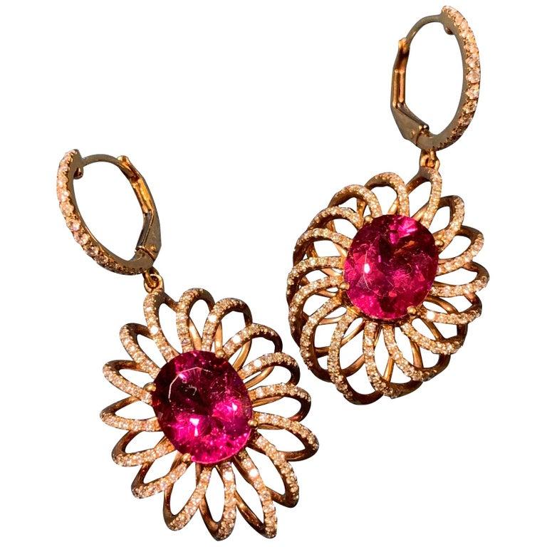 7.8 Carat Rubelite/ red / Designer 18k rose gold Dangling Earring For Sale