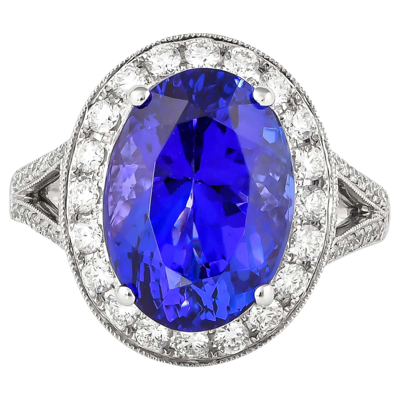 7.8 Carat Tanzanite and White Diamond Ring in 18 Karat White Gold