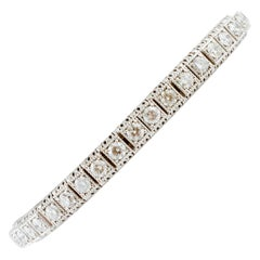 7.8 Carat White Diamonds, White Gold Tennis Bracelet