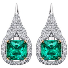 7.8 Carat Zambian Emerald Diamond 18 Karat White Gold Earrings