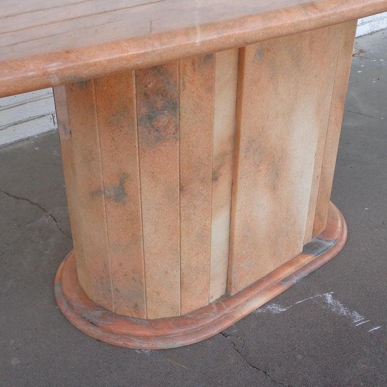 Italian Breccia Oniciata Marble Pedestal Table In Good Condition For Sale In Pasadena, TX