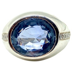 7.80 Carat Ceylon Sapphire and Diamond White Gold Ring