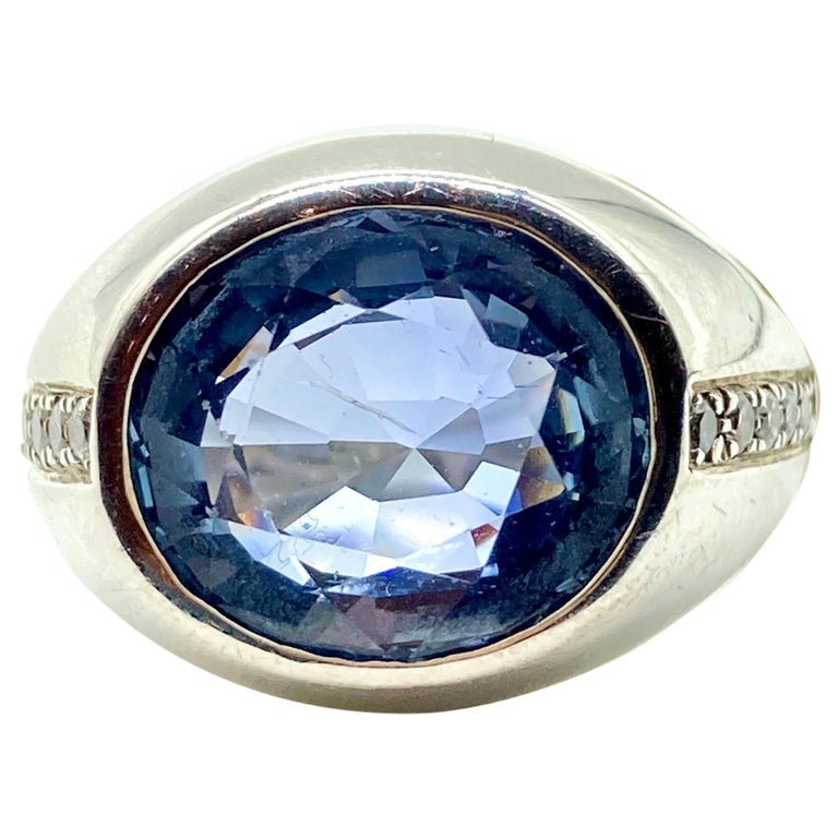 7.80 Carat Ceylon Sapphire and Diamond White Gold Ring For Sale