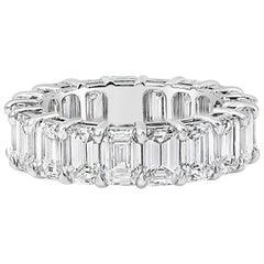 7.80 Carat Emerald Cut Diamond Eternity Wedding Band