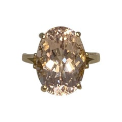 7.80 Carat Peach Orange Pink Morganite Oval Cut Yellow Gold Solitaire Ring