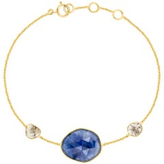 7.80 Carat Rose Cut Blue Sapphire Diamond 18 Karat Yellow Gold Artisan Bracelet
