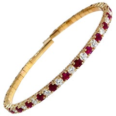 7.80 Carat Natural Round Cut Ruby Diamonds Bangle Bracelet 14 Karat Flex