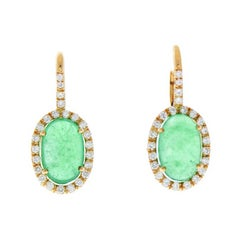 7.81 Carat Cabochon Emerald & Diamond Dangle Earring in 18k White Gold