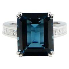 7.81 Carat Emerald Step Cut London Blue Topaz and Diamond Cocktail Ring