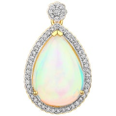 7.81 Carat Ethiopian Opal and White Diamond 14 Karat Yellow Gold Pendant