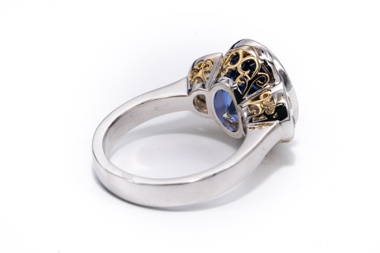 Radiant Cut 7.81 Carat Natural Sapphire 'No Heat Treatment' Ring by the Diamond Oak For Sale