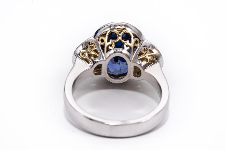 7.81 Carat Natural Sapphire 'No Heat Treatment' Ring by the Diamond Oak In New Condition For Sale In New York, NY