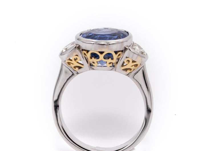 Women's or Men's 7.81 Carat Natural Sapphire 'No Heat Treatment' Ring by the Diamond Oak For Sale