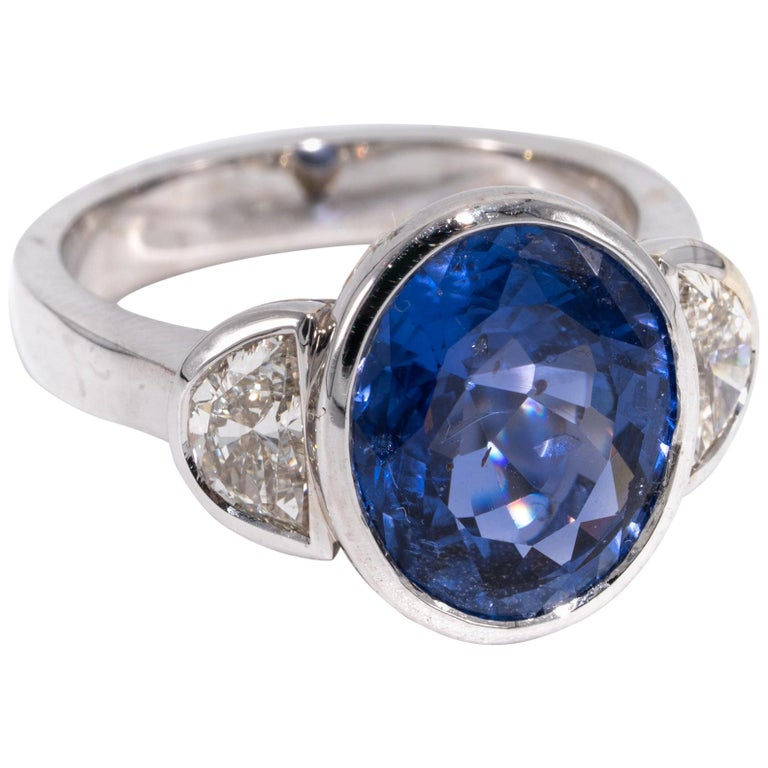 7.81 Carat Natural Sapphire 'No Heat Treatment' Ring by the Diamond Oak For Sale