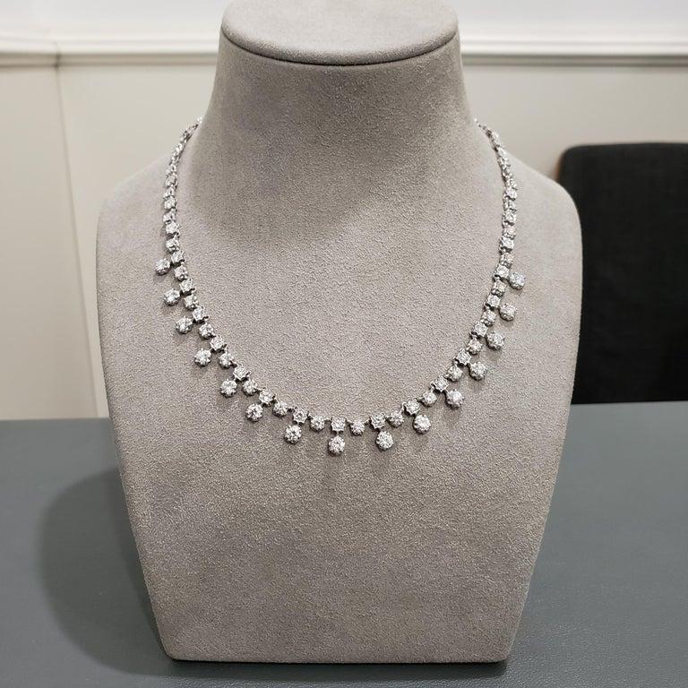 Contemporary 7.81 Carat Round Diamond Necklace For Sale