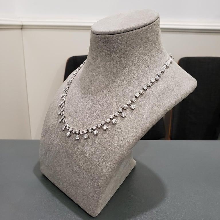 Round Cut 7.81 Carat Round Diamond Necklace For Sale