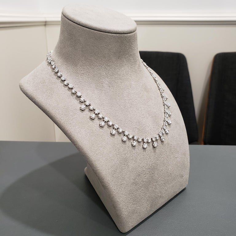 7.81 Carat Round Diamond Necklace In New Condition For Sale In New York, NY