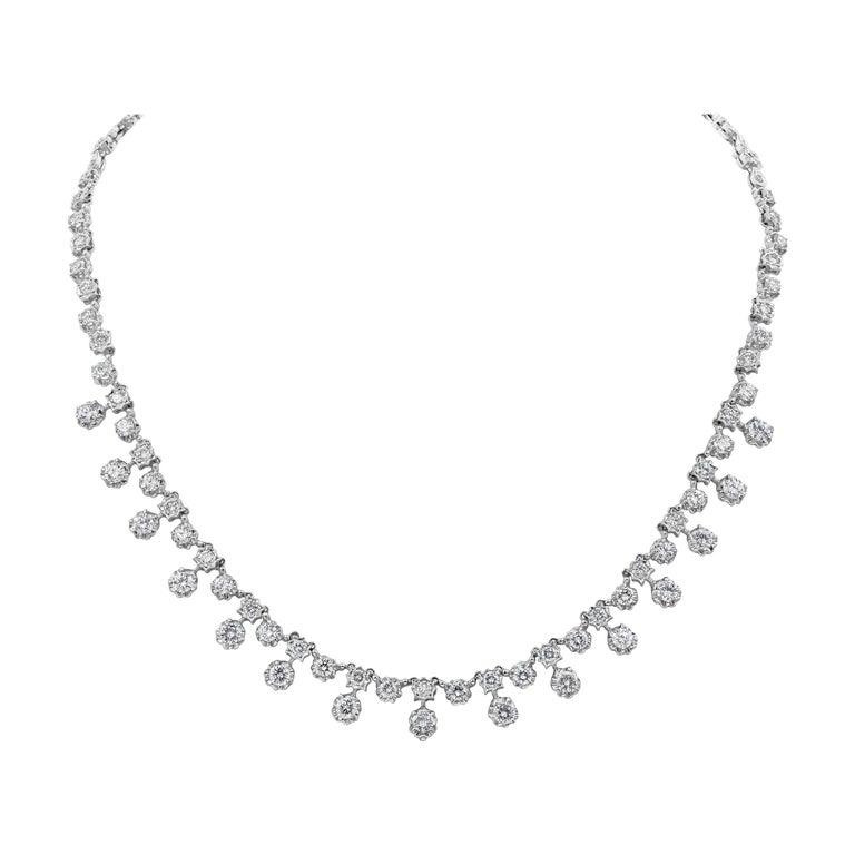 7.81 Carat Round Diamond Necklace For Sale
