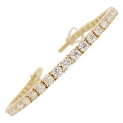 7.82 Carat Round Brilliant Cut Diamond Tennis Bracelet 14 Karat Yellow Gold