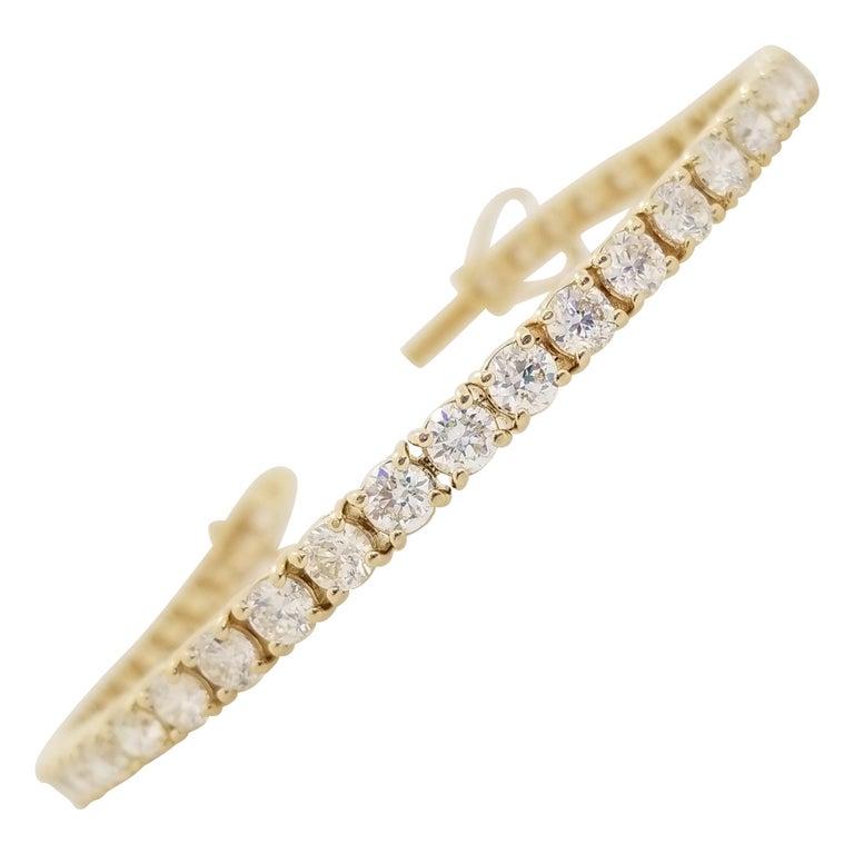 7.82 Carat Round Brilliant Cut Diamond Tennis Bracelet 14 Karat Yellow Gold For Sale