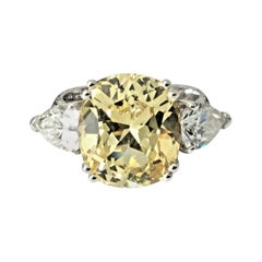 7.82 Carat Unheated Natural Yellow Sapphire and Diamond Ring GIA Certified