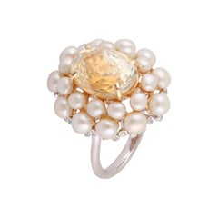 7.82 Carat Yellow Sapphire, Pearl and Diamond Ring Studded in 18 Karat Gold