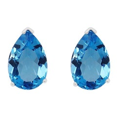 7.83 Carat Blue Topaz Stud Earrings