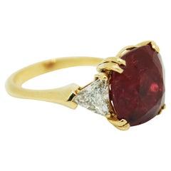 7.83 Carat Intense Red Certified Natural No Heat Ruby Cushion Diamond Ring