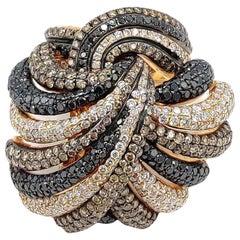 7.84 Carat Diamond 18 Karat Rose Gold Tri Color Knot Ring