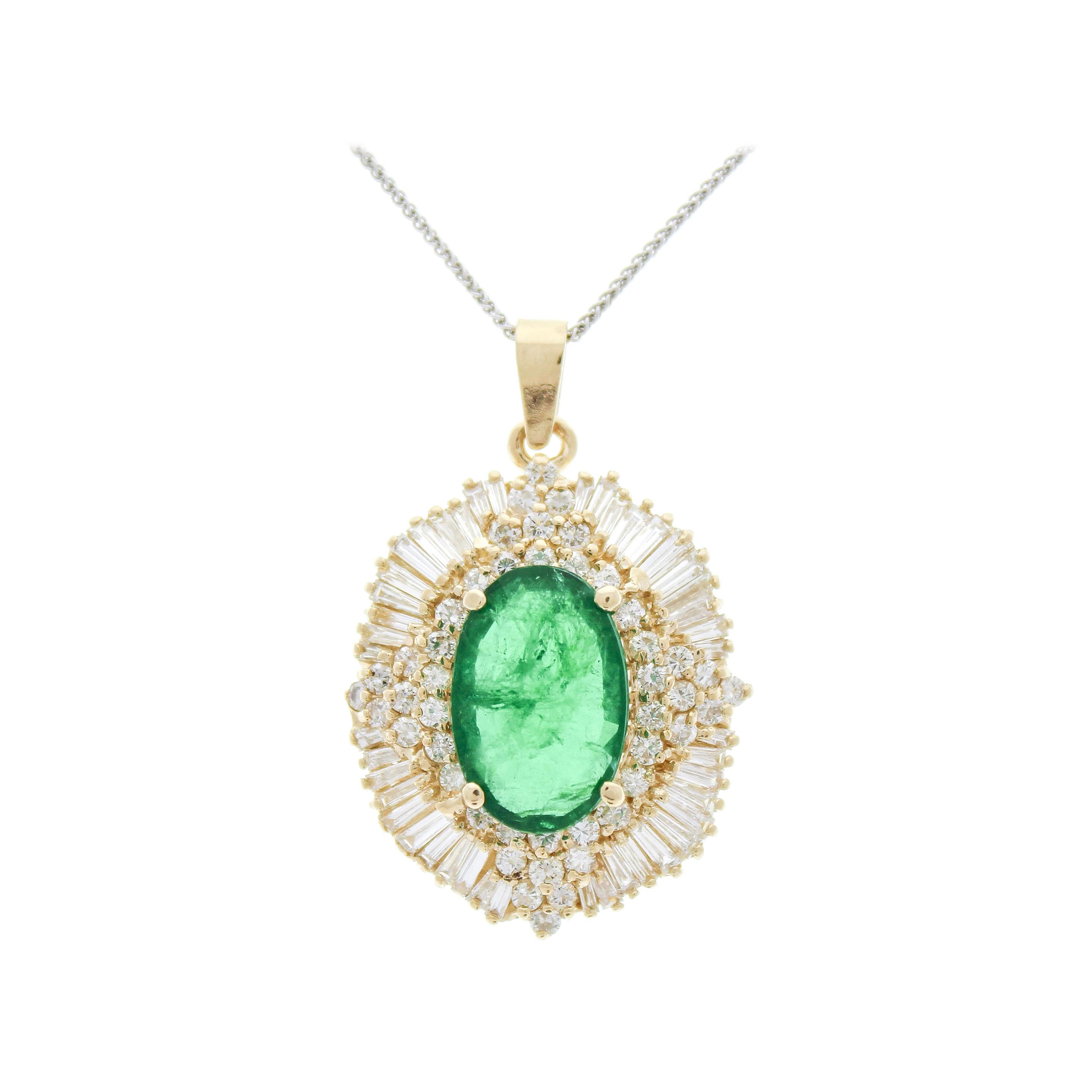 7.84 Carat GIA Certified Oval Emerald & Diamond Pendants in 18k Yellow Gold