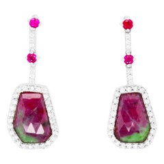 7.84 Carat Natural Ruby-Zoisite Drop Earrings