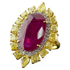 7.84 Carat Ruby and Yellow Diamond Cocktail Ring