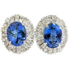 7.85 Carat Natural Tanzanite Diamonds Cluster Clip Earrings 14 Karat