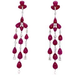 78.50 Carat Natural Ruby Cabochons and White Diamond Gold Chandelier Earrings