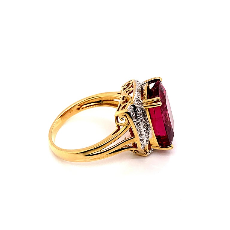 Cushion Cut 7.86 Carat Cushion Shaped Rubelite Ring in 18 Karat Yellow Gold with Diamonds For Sale